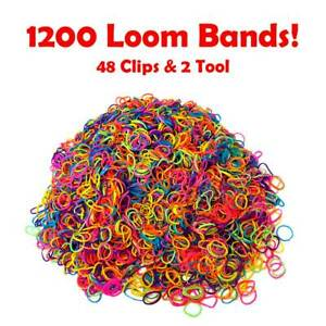 1200 Loom Bands Assorted Mix coloured Bands 48 clips + 2 Tool Arts Craft Kit