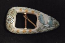 "Vintage Ken Edwards Ceramic Belt Buckle Signed ""Ken"" Mexico Hand Painted Pottery"