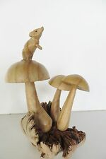 "8"" MUSHROOMS AND MOUSE HAND CARVED WOOD FIGURINE!  SIGNED"