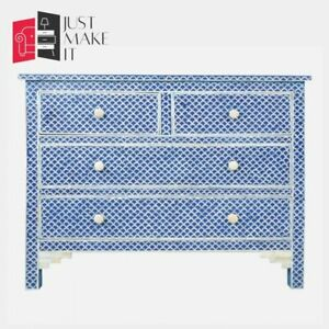 Bone Inlay Blue Chest of Drawer Lattice  (MADE TO ORDER)