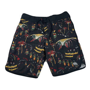 "Men's Quiksilver 17""/ 34 Aloha Print Volley Shorts Swim Trunks Hawaii"