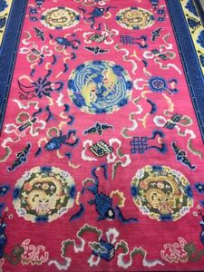 Antique Handmade Chinese Art Deco Wool Rug Carpet Shabby Chic,Size:9.8 By 6.5 Ft