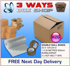 20x 12x12x12 House Removal Pack Double Wall Cardboard Boxes - Bubble & Tape