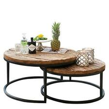 Industrial Nested Round Coffee Tables Set Two Sleeper Wood Reclaimed Wooden Meta