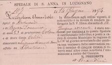 A8649) CARTOLINA AVVISO DELLO SPEDALE S. ANNA IN LUCIGNANO (AREZZO). VG NEL 1894