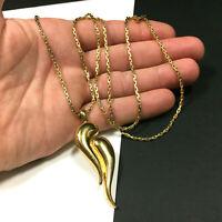 Vintage MONET Modernist Pendant Necklace Gold PL Interlocking Teardrop ii213K
