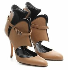 Manolo Blahnik Brown & Black Pebbled Leather Cutout Heeled Ankle Booties Size 40