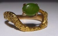 10k 21K Yellow Gold Jade Pinky Ring Nugget Ring Genuine Green Jade Handcrafted