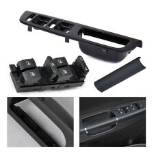 Black Window Master Switch Panel Bezel Handle Trim Set for Jetta Golf VW Passat