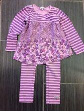 Naartjie Girls Purple Floral & Stripe Tunic (sz 5), Leggings (sz 4) & Headband