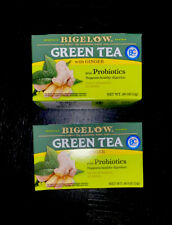 2x Bigelow Green Tea with Ginger Plus PROBIOTICS 36 Tea bags 2 boxes NEW SEALED