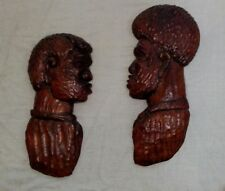 2 Signed Hand Carved Wood Large Ethnic Art Sculpture Wall Hangings Jamaica
