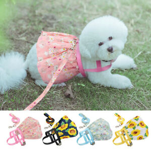 Floral Collection Small Dog Dress Harness with Lead Cute Cat Dog Girl Sundress