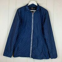 Womens XL Windbreaker Jacket Navy Blue White Polka Dots Water Resistant NWT$45