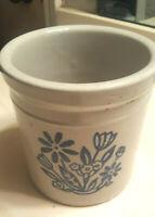 Vintage* Handmade Stoneware Pottery Crock Pot * Blue Flowers * Country Farmhouse