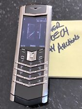 Genuine Vertu Signature S Stainless Steel Black Leather Mint Super RARE Complete