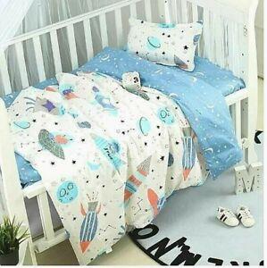 5pc. Boys Blue & White Spaceship Nursery 100% Soft Cotton Crib Bedding Set