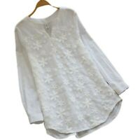 Womens Lace V Neck Long Sleeve Floral Loose Tops Casual Plain Tee Shirt Blouse D