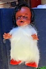 VINTAGE INDIAN DOLL HARD PLASTIC Laughing little Fur baby Red shoe  MAKE IN USA