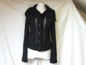 WAREHOUSE BLACK LACY KNIT CARDI TOP JACKET WITH MOHAIR LADIES 10 TEEN GIRL