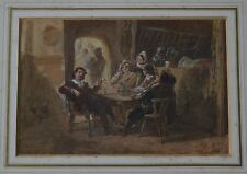 (Dutch 1822-1891) 19th siècle Tavern Interior with People drinking autour de la table