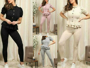 Womens Ladies Frill Peplum Button Cap Sleeve Loungewear Tracksuit Suit Set Uk