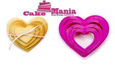 SET 4 TAGLIAPASTA A CUORE DECORA IN PLASTICA 4 MISURE PER BISCOTTI CAKE DESIGN