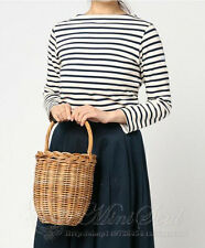 New Handmade Wicker Bag With Lid Bamboo Basket Vintage Fashion Straw Woven Tote