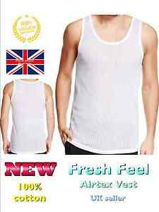 mens vest mesh airtex light summer 100% cotton gym tank top vests S M L XL XXL