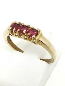 9ct yellow gold Ruby trilogy ring size N ½ full hallmarked