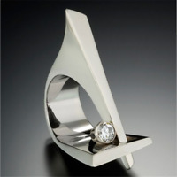 Unique Geometric White Sapphire Wedding Ring 925 Silver Engagement Party Jewelry