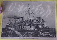 Nouveau Paquebot Transatlantique à Dos de Baleine GRAVURE XIXème