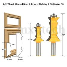 2PCS Mitered Door & Drawer Molding Bit Router Bit Set 1/2'' Shank Woodworking