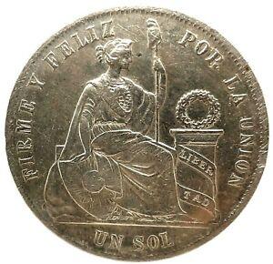 Peru - Un 1 Sol 1869 YB - Silver -  High Grade Coin. KM#196.3
