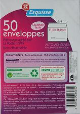 50 ENVELOPPES BLANCHES ADHESIVES PRE-CASEES 11 x 16 cm - ESQUISSE