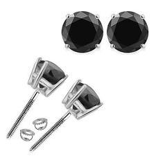 1 Carat Natural Black Diamond Screwback Solitaire Stud Earring 14K White Gold