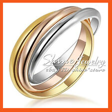 18K White Yellow Rose GOLD GF R130 ENGAGEMENT WEDDING LADIES RUSSIAN SOLID RINGS
