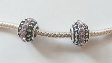 2 Metal Antique Silver Charm Beads- Pink Rhinestones-11mm x 7mm