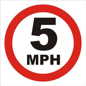 5 MPH Speed limit sign - 3mm rigid signboard - 300mm x 300mm