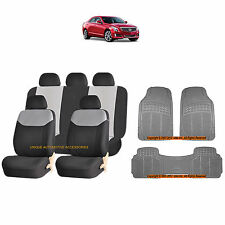 12PC GRAY ELEGANT AIRBAG SEAT COVERS & GRAY RUBBER FLOOR MATS SET FOR CARS 3865