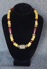 Handmade Trade Bead necklace  Mideastern & Yellow Hebron Beads Brass,Glass,Metal