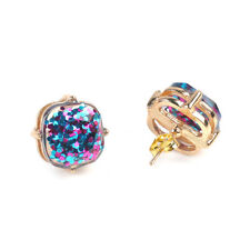 Women Fashion Gold Plated New York  Studs Galaxy Glitter Square Stud Earrings