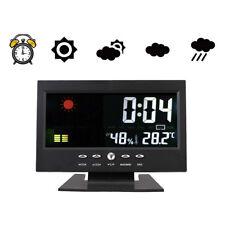 LED Digital Projection Alarm Clock Snooze Calendar Weather Monitor Color Display