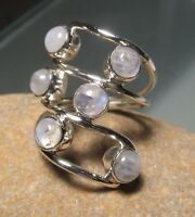 Sterling silver 925 large multi-stone RAINBOW MOONSTONES coiled ring.