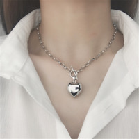 Heart Charm Pendant 925 Sterling Silver Curb Chain Necklace  Choker Jewelry Gift
