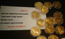 2005 S Native American 24 K GOLD, Sacagawea Dollar Deep Cameo GEM USA Proof Coin
