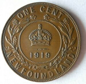 1919 NEWFOUNDLAND CENT - AU - High Grade/Value Coin - Lot #J26
