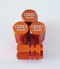AUDI Laser Wheel Valve Dust caps all models ORANGE S LINE RS S5 S3 RS3 RS4 RS5