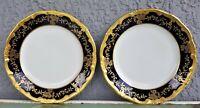 "Pair Weimar Katharina Bread and Butter Plate Cobalt Blue 6 7/8"" Gold trim"
