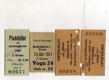 LOTTO  4  BIGLIETTI   TICKETS   EDMONSON  KOBENHAVN   PARIS 23-AUG-1951